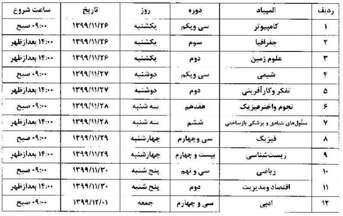 تاریخ برگزاری آزمون های مرحله اول المپیاد