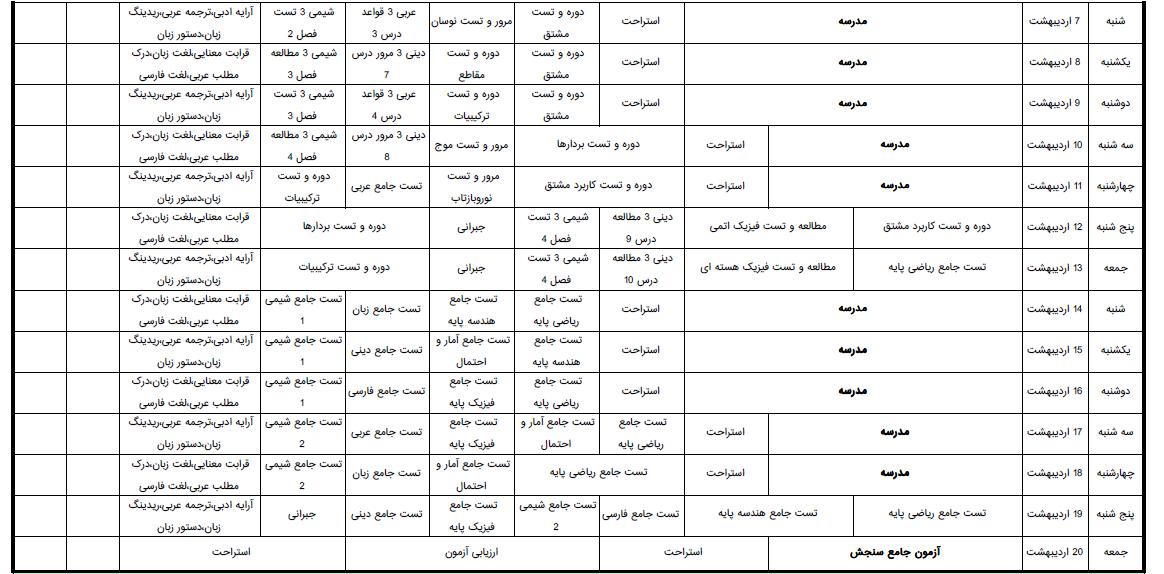 برنامه درسی روزانه و هفتگی ویژه آزمون 13 اردیبهشت 98 قلمچی