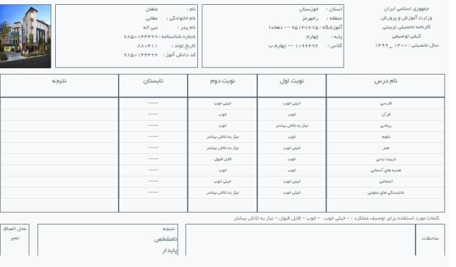 چاپ کارنامه در سامانه ثبت نمرات دانش آموزی sida.medu.ir