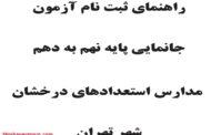 راهنمای ثبت نام آزمون جانمایی نهم به دهم سمپاد تهران