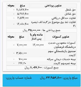 فیش حقوقی خرداد دانشجو معلمان کسورات 20 درصد